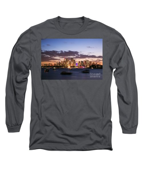 Sydney Skyline At Dusk Australia Long Sleeve T-Shirt by Matteo Colombo