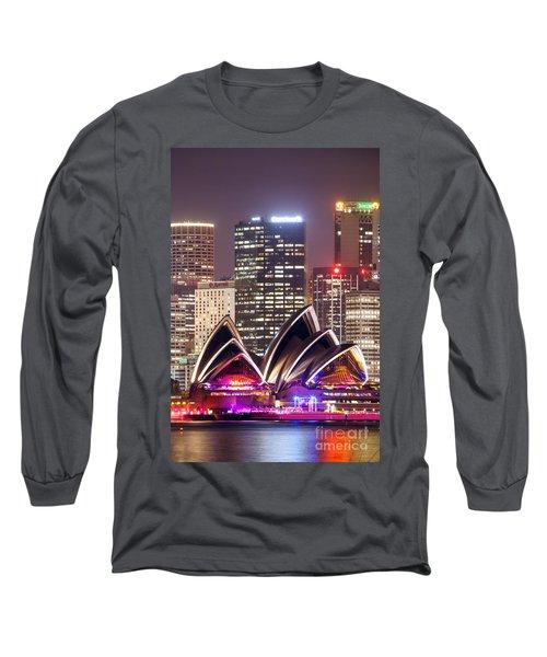 Sydney Skyline At Night With Opera House - Australia Long Sleeve T-Shirt by Matteo Colombo