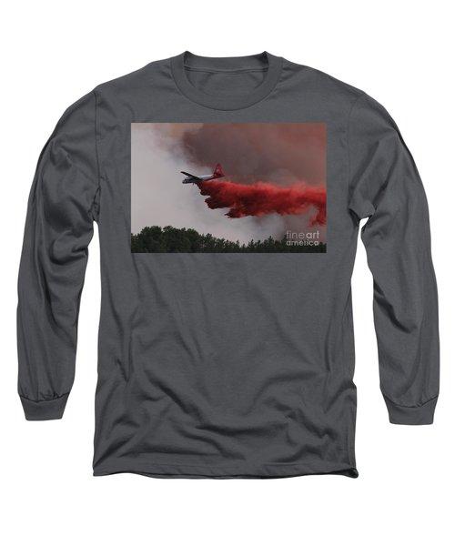Long Sleeve T-Shirt featuring the photograph Tanker 07 Drops On The Myrtle Fire by Bill Gabbert