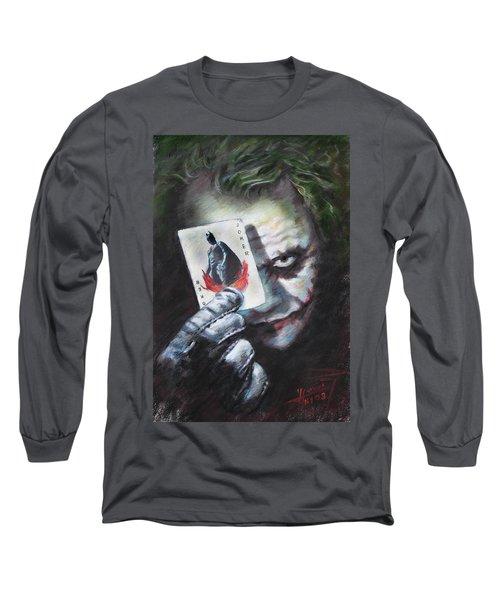 The Joker Heath Ledger  Long Sleeve T-Shirt by Viola El