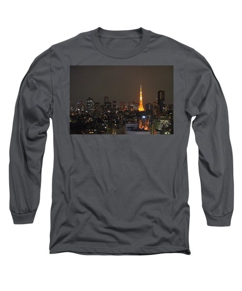 Tokyo Skyline At Night With Tokyo Tower Long Sleeve T-Shirt by Jeff at JSJ Photography