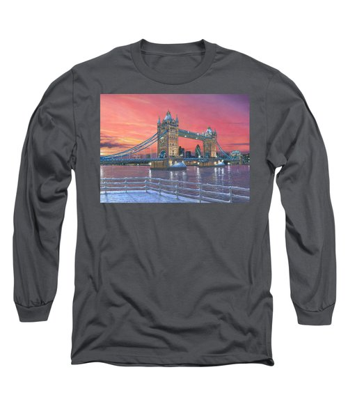 Tower Bridge After The Snow Long Sleeve T-Shirt by Richard Harpum