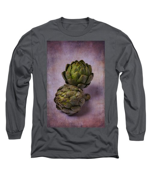 Two Artichokes Long Sleeve T-Shirt by Garry Gay
