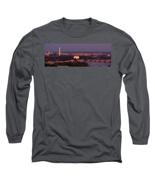 Usa, Washington Dc, Aerial, Night Long Sleeve T-Shirt by Panoramic Images