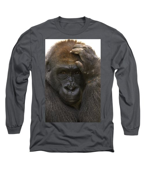 Western Lowland Gorilla With Hand Long Sleeve T-Shirt by San Diego Zoo