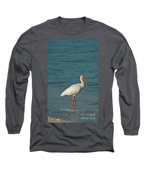 White Ibis Long Sleeve T-Shirt by Cindi Ressler