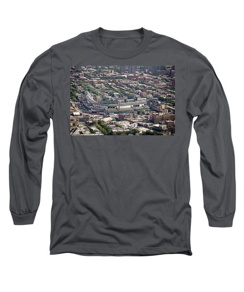 Wrigley Field - Home Of The Chicago Cubs Long Sleeve T-Shirt by Adam Romanowicz
