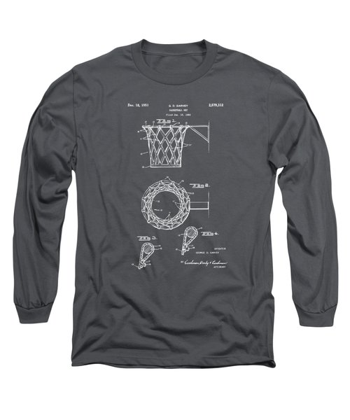1951 Basketball Net Patent Artwork - Gray Long Sleeve T-Shirt by Nikki Marie Smith