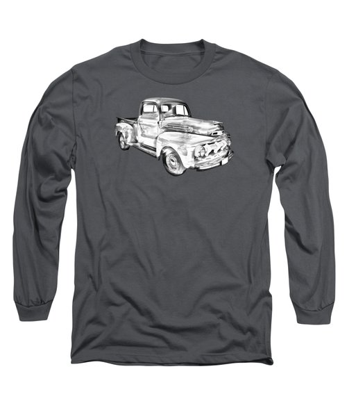 1951 Ford F-1 Pickup Truck Illustration  Long Sleeve T-Shirt by Keith Webber Jr