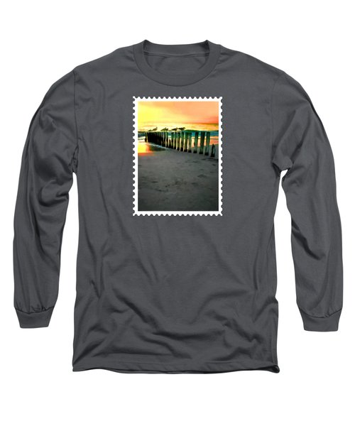 Sea Gulls On Pilings  At Sunset Long Sleeve T-Shirt by Elaine Plesser