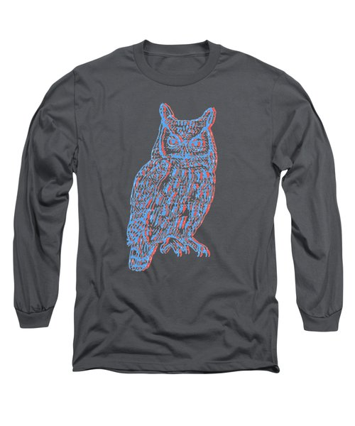 3d Owl Long Sleeve T-Shirt by Cold Wash