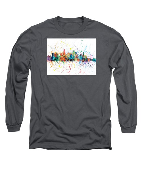 Los Angeles California Skyline Long Sleeve T-Shirt by Michael Tompsett