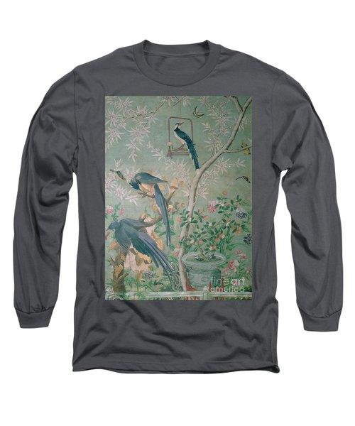 A Pair Of Magpie Jays  Vintage Wallpaper Long Sleeve T-Shirt by John James Audubon