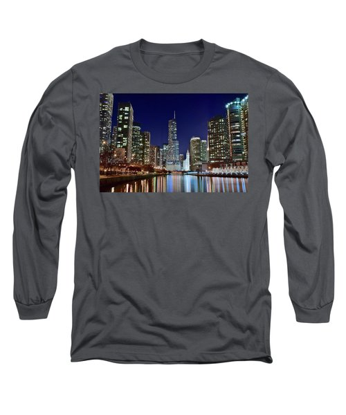 A View Down The Chicago River Long Sleeve T-Shirt by Frozen in Time Fine Art Photography