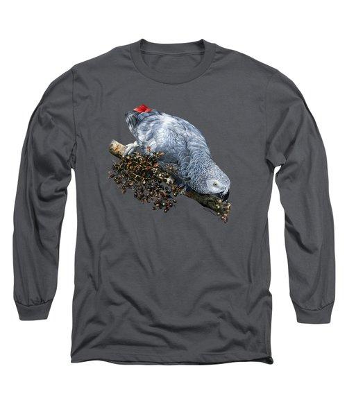 African Grey Parrot A Long Sleeve T-Shirt by Owen Bell