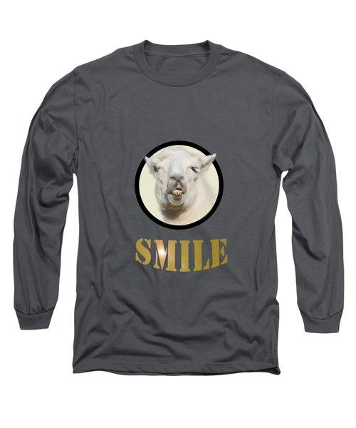 Alpaca Smile  Long Sleeve T-Shirt by Rob Hawkins