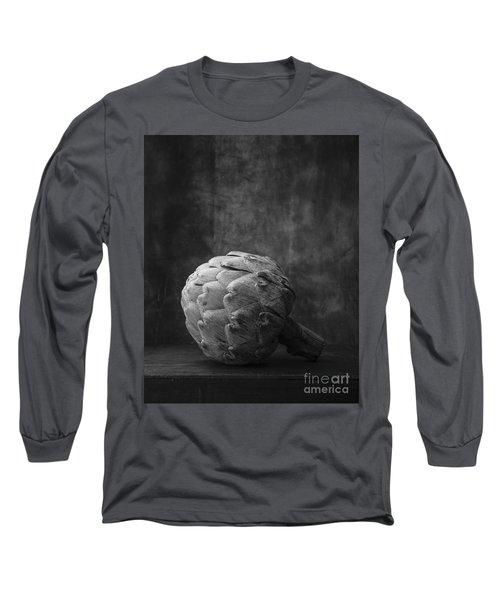 Artichoke Black And White Still Life Long Sleeve T-Shirt by Edward Fielding