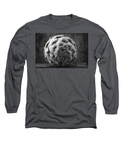 Artichoke Black And White Still Life Two Long Sleeve T-Shirt by Edward Fielding
