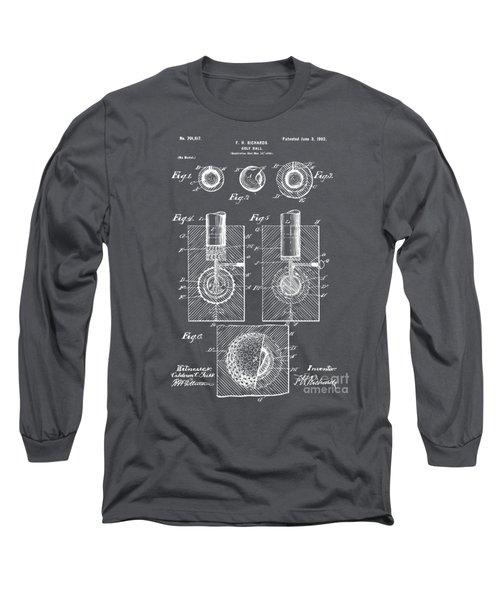 1902 Golf Ball Patent Artwork - Gray Long Sleeve T-Shirt by Nikki Marie Smith