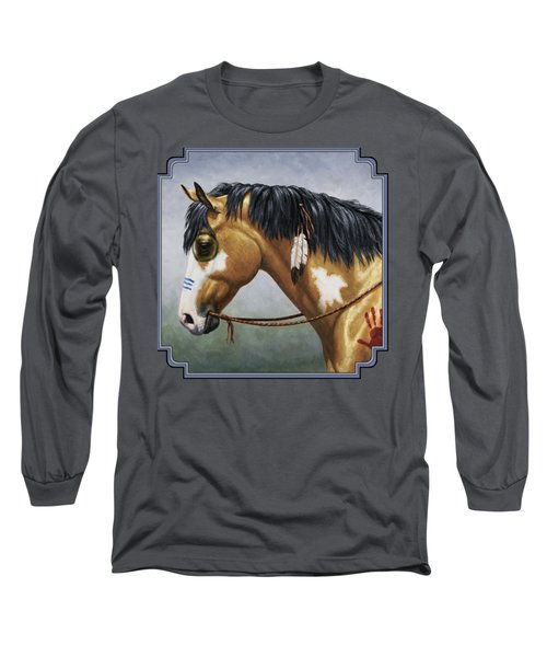 Buckskin Native American War Horse Long Sleeve T-Shirt by Crista Forest