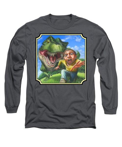 Tyrannosaurus Rex Jurassic Park Dinosaur - T Rex - T Rex - Extinct Predator - Square Format Long Sleeve T-Shirt by Walt Curlee