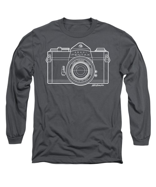 Asahi Pentax 35mm Analog Slr Camera Line Art Graphic White Outline Long Sleeve T-Shirt by Monkey Crisis On Mars
