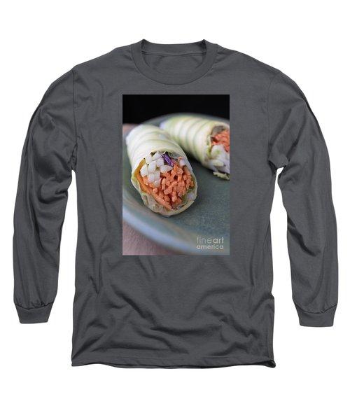 Avocado Roll Sushi Long Sleeve T-Shirt by Edward Fielding