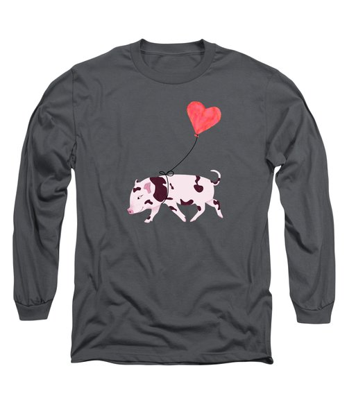 Baby Pig With Heart Balloon Long Sleeve T-Shirt by Brigitte Carre