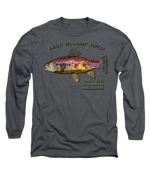 Fishing - Best Caught Wild-on Dark Long Sleeve T-Shirt by Elaine Ossipov