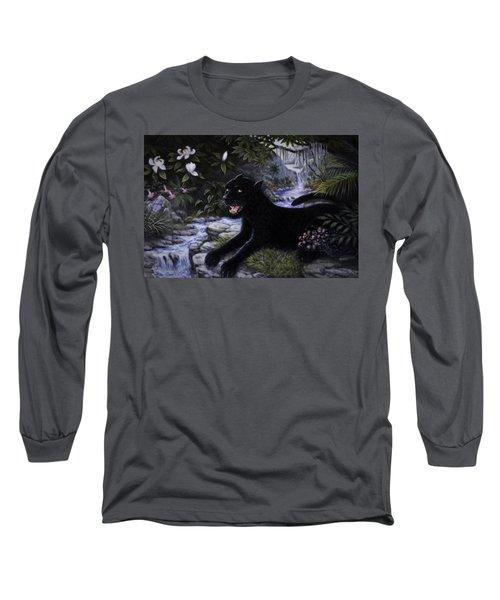 Black Panther Long Sleeve T-Shirt by Charles Kim