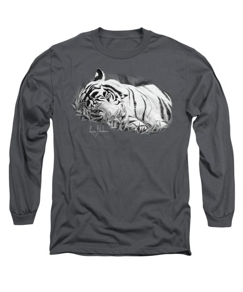 Blue Eyes - Black And White Long Sleeve T-Shirt by Lucie Bilodeau