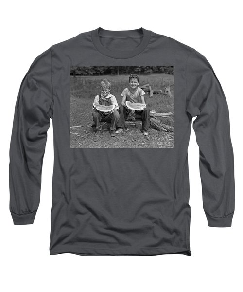 Boys Eating Watermelons, C.1940s Long Sleeve T-Shirt by H. Armstrong Roberts/ClassicStock