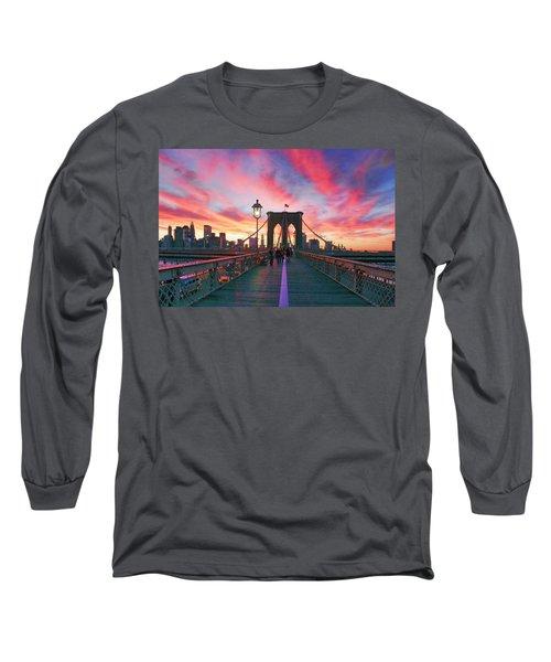 Brooklyn Sunset Long Sleeve T-Shirt by Rick Berk