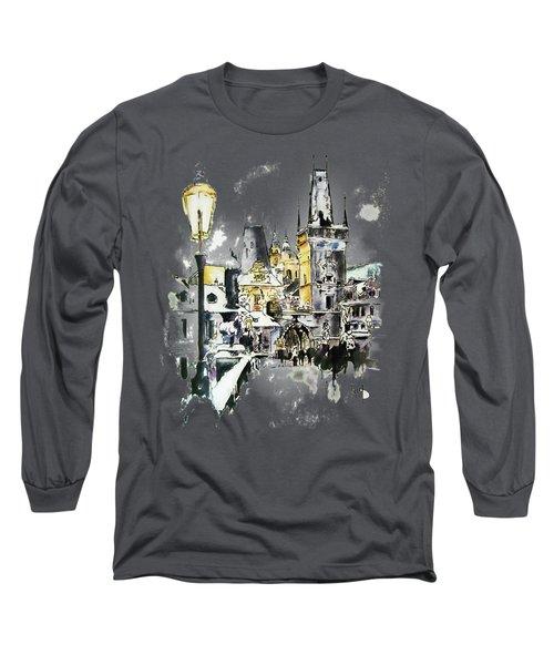 Charles Bridge In Winter Long Sleeve T-Shirt by Melanie D