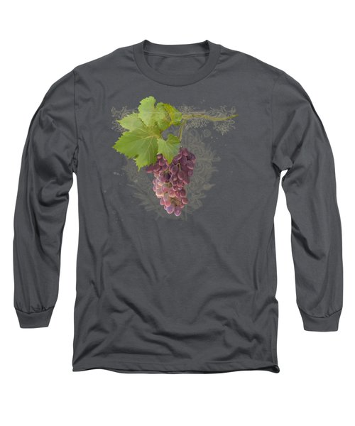 Chateau Pinot Noir Vineyards - Vintage Style Long Sleeve T-Shirt by Audrey Jeanne Roberts