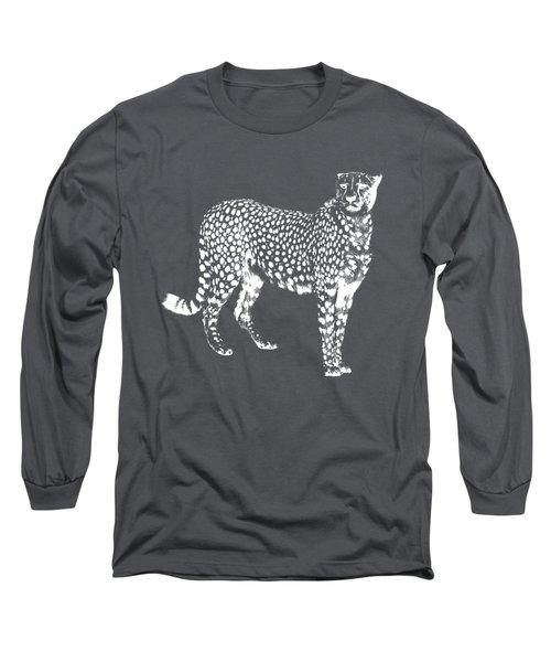 Cheetah Cut Out White Long Sleeve T-Shirt by Greg Noblin
