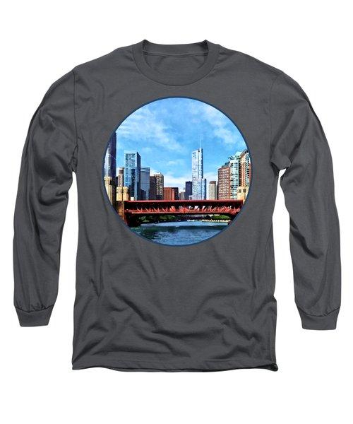 Chicago Il - Lake Shore Drive Bridge Long Sleeve T-Shirt by Susan Savad