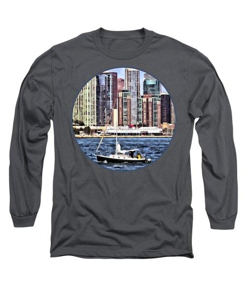Chicago Il - Sailing On Lake Michigan Long Sleeve T-Shirt by Susan Savad