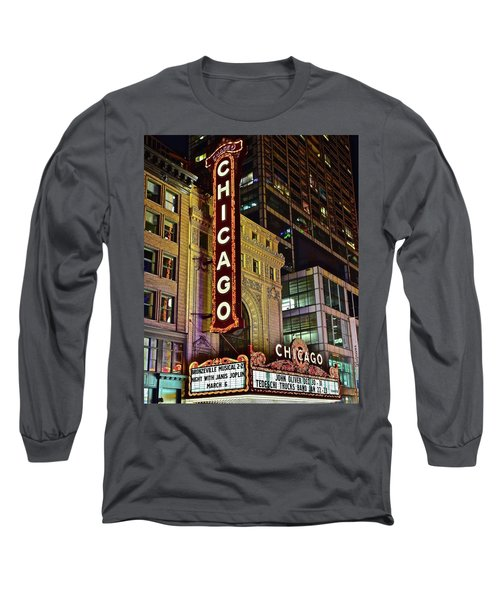 Chicago Theater Aglow Long Sleeve T-Shirt by Frozen in Time Fine Art Photography
