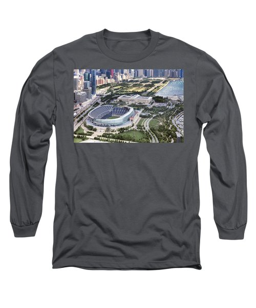 Chicago's Soldier Field Long Sleeve T-Shirt by Adam Romanowicz