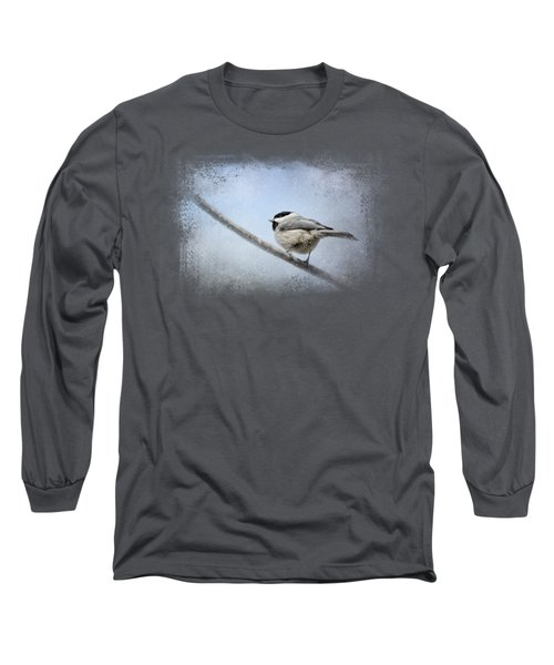 Chickadee In The Snow Long Sleeve T-Shirt by Jai Johnson