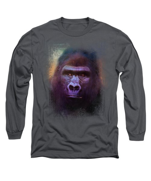 Colorful Expressions Gorilla Long Sleeve T-Shirt by Jai Johnson