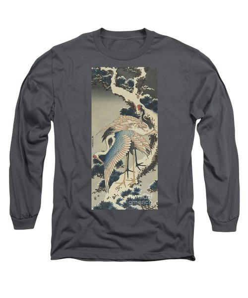 Cranes On Pine Long Sleeve T-Shirt by Hokusai