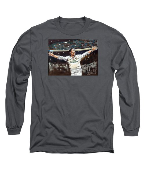 Cristiano Ronaldo Of Real Madrid Long Sleeve T-Shirt by Dave Olsen
