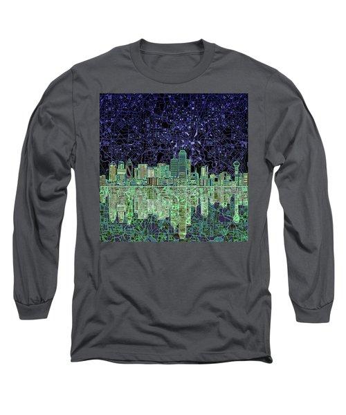 Dallas Skyline Abstract 4 Long Sleeve T-Shirt by Bekim Art