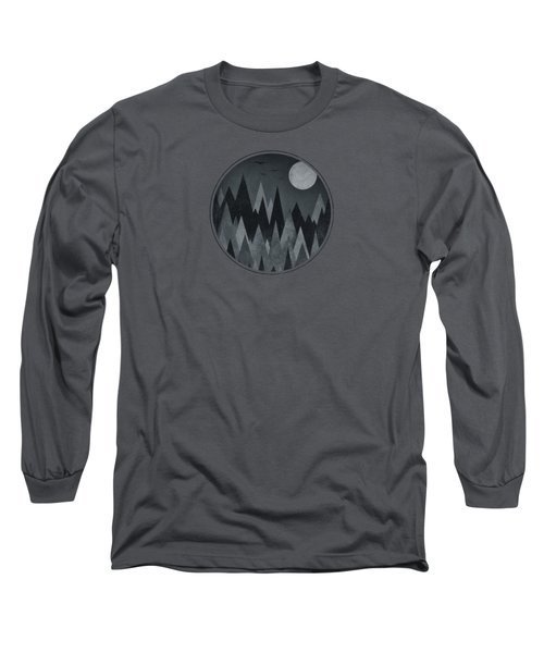 Dark Mystery Abstract Geometric Triangle Peak Woods Black And White Long Sleeve T-Shirt by Philipp Rietz