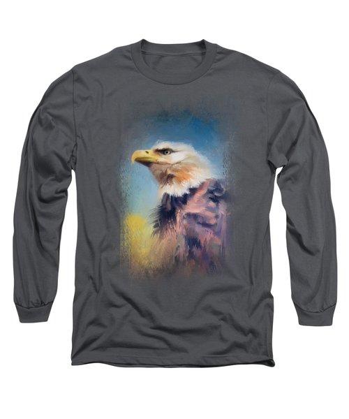 Eagle On Guard Long Sleeve T-Shirt by Jai Johnson