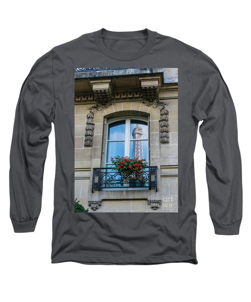 Eiffel Tower Paris Apartment Reflection Long Sleeve T-Shirt by Mike Reid
