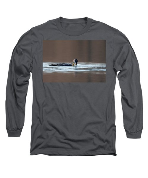 Feeding Common Loon Long Sleeve T-Shirt by Bill Wakeley
