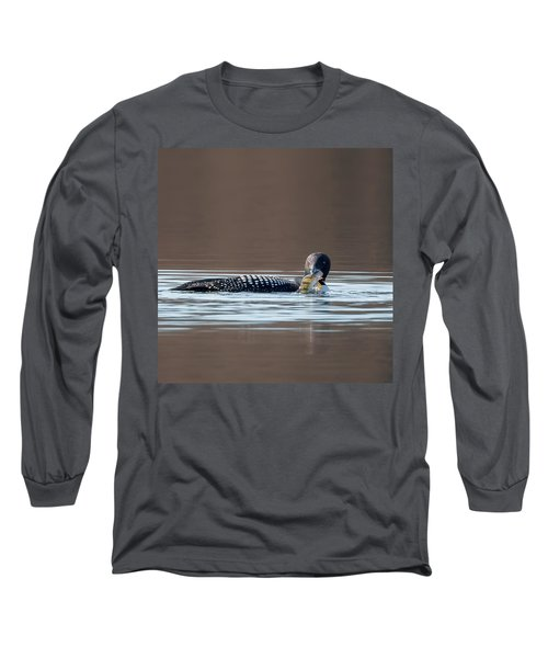 Feeding Common Loon Square Long Sleeve T-Shirt by Bill Wakeley